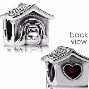 ♥️ Heart Dog house pandora charm w red enamel